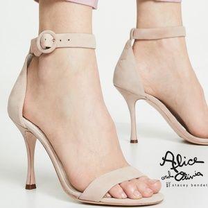 🆕Alice + Olivia Ankle Strap Sandals Beige Suede